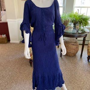Blue ruffle maxi dress